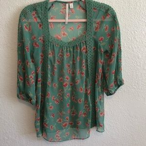 LAUREN CONRAD Embroidered Sheer Floral Blouse